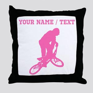 Pink BMX Biker Silhouette (Custom) Throw Pillow